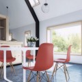 Acrylic Chairs Flashy White Dining Table Lovely Indoor Plants Concrete Floor Ball Pendant Light
