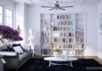 Apartment with Flowers and White Color of Tbale Decor that Bookcase Completed the Area