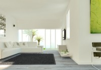 Armchairs Cool White Sectional Sofa Dark Fur Rug on Wood Floor Glass Sliding Door