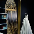 Art Glossy Gold Canopy Bed Bright White Bedding Style Precious Silky Gown Light Blue Bookcase