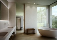 Bathroom with Glass Wall and Showing the Outside View Make the Room More Cozy