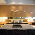 Bed Headboard Elegant Table Lamps on Minimalist Wood Bedside Tables Low Profile Bed