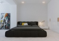 Bedroom White Brick Textured Wall Modern Dark Bed Flashy White Wardrobe