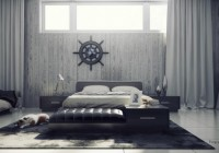 Bedroom by the Sun Light at the Modern House and Black Ottoman Completed the Decor