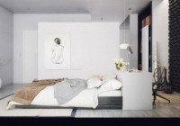 Bedroom in the Modern House with Lamps and White Pillows and the Paint Wall Make the Room More Creative