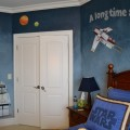 Bedroom with Blue and White of Starwar Themed in the Boys Room