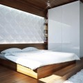 Bedside Table White Fur Rug Shiny LED Light Minimalist White Wardrobe