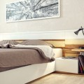 Bedside Tables Cozy Modern Bed Stylish Metallic Table Lamps Wood Floor