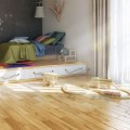 Blonde of Wooden Floor in Modern that Bold Curtain Opened