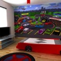 Boys Room Showing Wooden Wardrobe Beside the Tv and the Crapet Completed the
