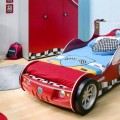 Boys Room with Red Wradrobe and Storage of Units