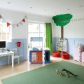 Bunting Clad Childs Play Room in White and Blue Make the Room Can Play Area Also
