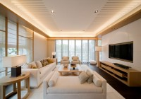 Ceiling Glass Sliding Door Clean White Couch Sleek Wood Coffee Table Minimalist Wood Sideboard