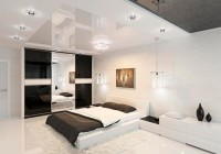 Ceiling Lights White Fur Rug on Laminate Flooring Minimalist Bedside Table