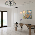 Chandelier in Dining Room Charming Colorful Painting Bright Glass Pendant Lights Wood Dining Table Acrylic Chairs