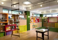 Children Play Room in the Modern Suspended Swing and Monkeys Bar Completed the Area