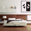 Compact Bedside Tables Minimalist Bookcase Artistic Wall Mural Wood Floor Striped Carpet