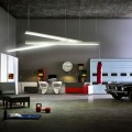 Concrete Floor Shiny Pendant Light Modern White Wardrobe Futuristic Bed