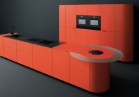 Dark Sink and Dark Faucet Elegant Black Laminate Flooring Minimalis Red Cabinet