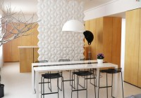 Dining Room Flashy White Dining Table Dark Metallic Barstools Bowl Pendant Light