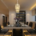 Dining Table Dark Leather Chairs Pretty Fake Flower Sparkling Pendant Lights