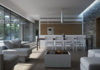 Dinning Room in Modern with Steel Sofas Beside the Chairs in White Color