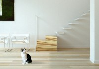Floating Staircase Lacquered Wood Floor Glass Railing Chic White Metallic Chairs