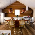 Floor Rectangular Wood Dining Table Pinecone Shaped Pendant Lights White Kitchen Set