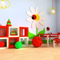 Kids Area with Red and Green with Wooden Chairs