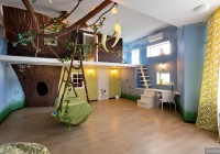 Kids Plays Room with Swing on Pastel Blue of Backgroung Decor