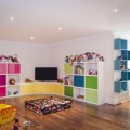 Kids with Colorful Storage Units that Led Tv Makethe Room More Stylish