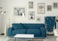Living Room Blue Couch Small White Coffee Table on Grey Fur Rug Antique Cabinet