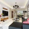Living Room Dark Leather Bed Sofa Round Mirror Coffee Table Elegant Chandelier
