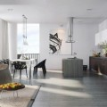 Living Sofas with Pendant Lamps and the Dinning Table Under the Pendant Lamps in White Color