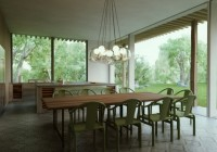Modern Cottage Courtyardand the Pendant Lamps Make More Stylish in Decor