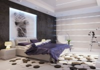 Mural Nice Textured Wall Circular Pads on Laminate Flooring Purple Silky Quilt