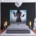Nightlights on Bedside Tables White Fur Rug Futuristic Cube Pendant Light