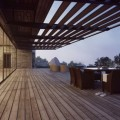 Outdoor Dinning with Wooden Deck Showing Fresh Panorams by the Planters and Sky Also