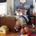 Pillows in Bedroom Area with Sport Themed in the Boy Room Showing All of the Objecst