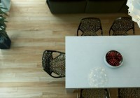 Rectangular Dining Table Futuristic Pendant Light Dark Side Chairs Wood Floor Fresh Indoor Plant Nice Tabletop