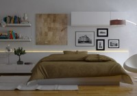 Shelves Sleek Wood Floor White Bedside Table Pretty Wall Mural Futuristic Floor Lamp