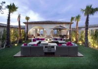 Sofa Cushions Dark Wood Floor at Grassy Courtyard Tropical Plants Glaring Outdoor Lights
