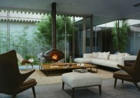 Sofas feat Chairs and Wooden Fireburn Given Warm in the Modern Cottage Courtyard Decor