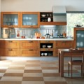 Stylish Kitchen Wood Cabinet with Glass Door Rectangular Wood Kitchen Dining Table