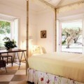 Sunny Bright Bedroom with Wooden Table and Chairs Also in Modern
