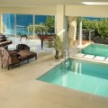 Swimming Pool Beside Chairs and Sofas that Planters Suroundign the Area
