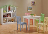 Table and Colorful of Chairs with Natural Wall