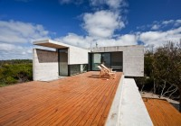 Wooden Deck in the Daylight View in Amber Color feat Chairs Also in the House on the Beach